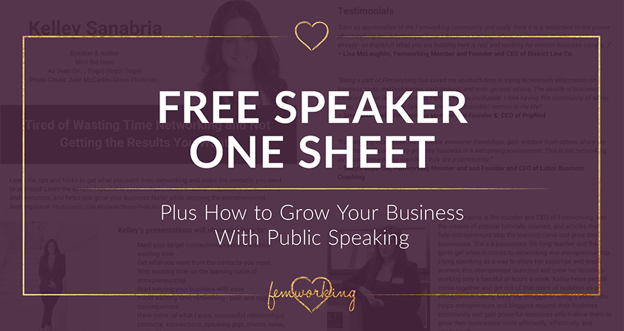 FREE Speaker One Sheet + How to Grow Your Business With Public Speaking